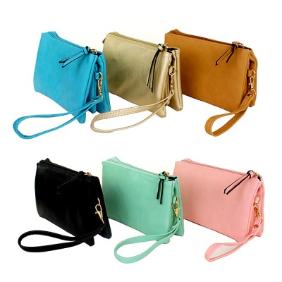 Messenger Bag/ Organizer – Soft Leather-like w/ Detachable Wristlet and Shoulder Strap - BG-F695