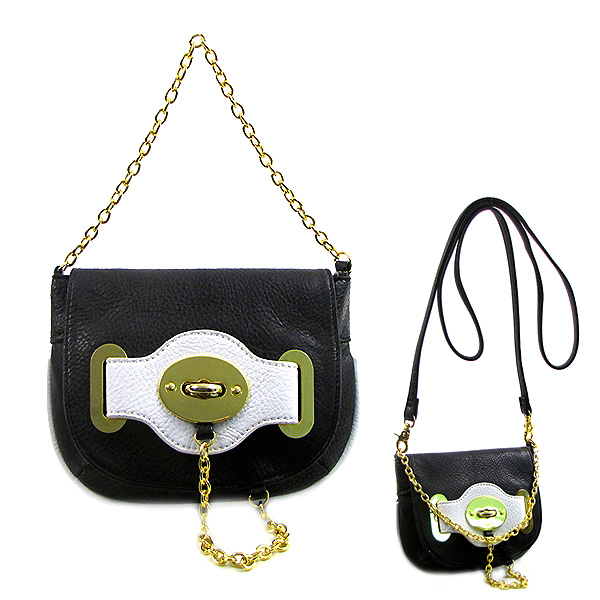 Pebble Leather-like Small Flap Purse w/ Metal Chain Strap And Twist Lock - Black - BG-H6364BK