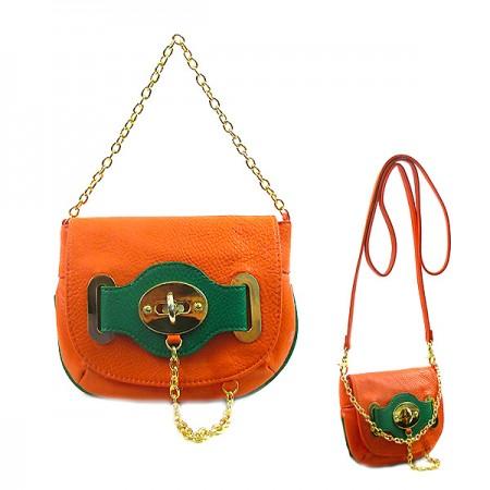 Pebble Leather-like Small Flap Purse w/ Metal Chain Strap And Twist Lock - Orange - BG-H6364OG