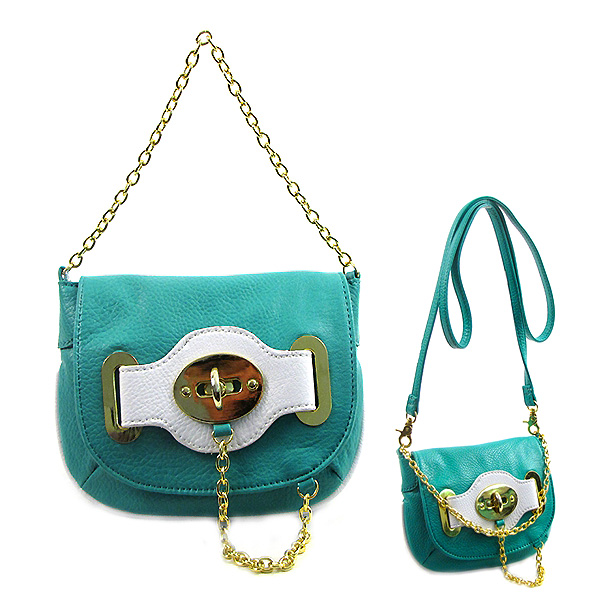 Pebble Leather-like Small Flap Purse w/ Metal Chain Strap And Twist Lock - Turquoise - BG-H6364TQ