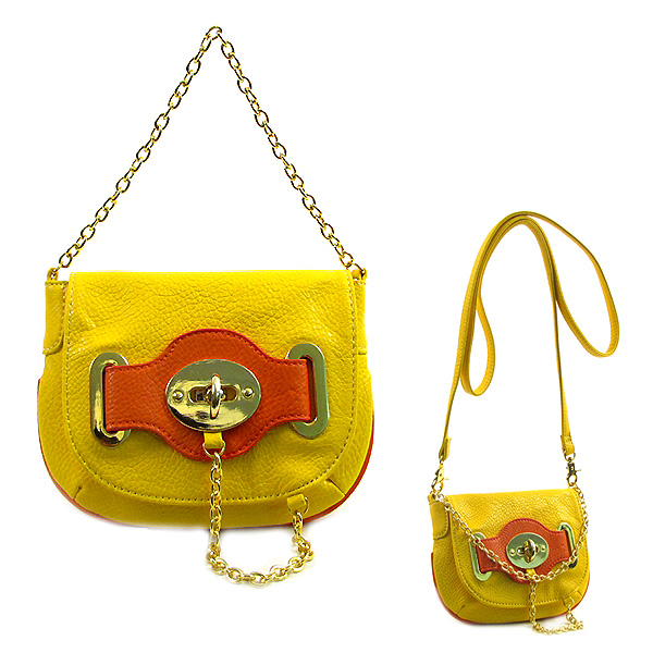 Pebble Leather-like Small Flap Purse w/ Metal Chain Strap And Twist Lock - Yellow - BG-H6364YL