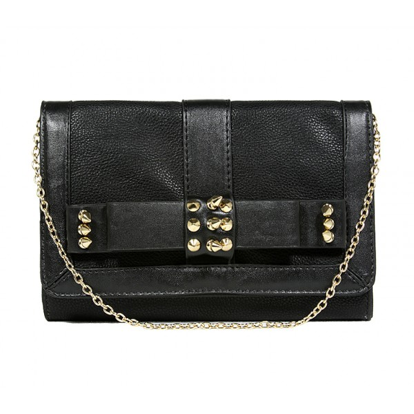Pebble Leather-like Shoulder Bag w/ Spiky Studded Bow Flap - Black -BG-HD1437BK