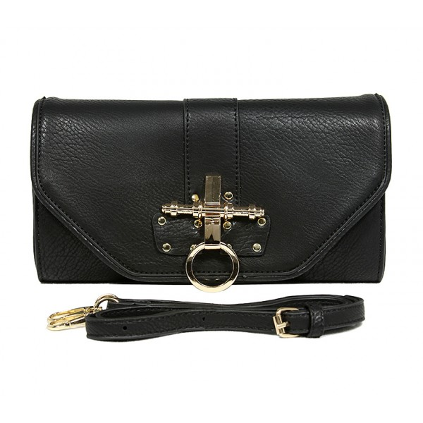 Pebble Leather-like Shoulder Bag Accent w/ Door Latch Flap - Black -BG-HD1441BK