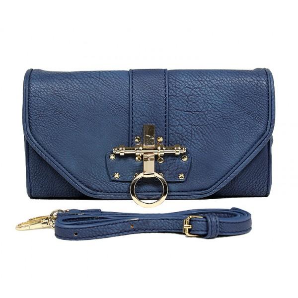 Pebble Leather-like Shoulder Bag Accent w/ Door Latch Flap - Navy -BG-HD1441NV