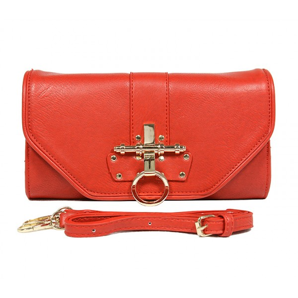 Pebble Leather-like Shoulder Bag Accent w/ Door Latch Flap - Red - BG-HD1441RD