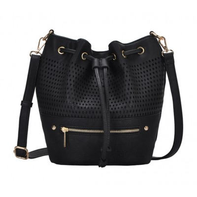 Draw String Bucket Bag w/ Detachable Shoulder Strap - Black - BG-S1197BK