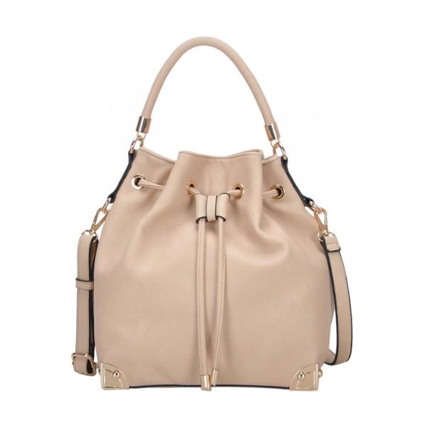 Draw String Bucket Bag w/ Detachable Shoulder Strap - Bone - BG-W5060BONE