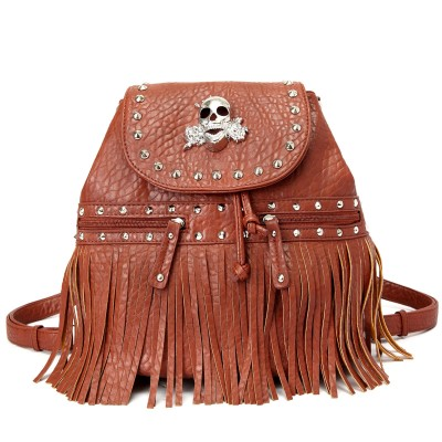 Skull Logo Pebble Leather Shoulder Bag/Back Pack - Brown