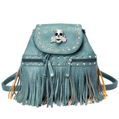 Skull Logo Pebble Leather Shoulder Bag/Back Pack - Dust Blue - BG-BKU5253DTBL