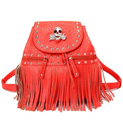Skull Logo Pebble Leather Shoulder Bag/Back Pack - Red - BG-BKU5253RD