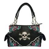 Western Style Tote Bag w/ Rhinestone Stones Skull Charm - Black - BG-SK7805BK
