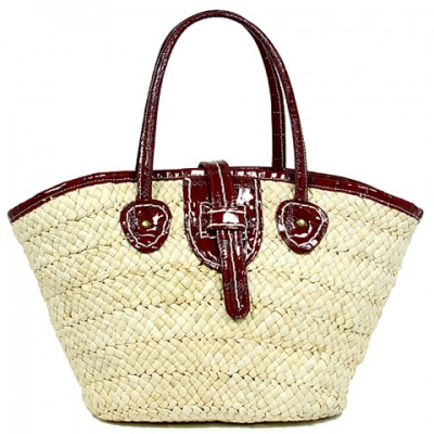 Straw Tote: Corn Husk Straw w/ PU Leather Handles & Flap - Red - BG-R11047RD