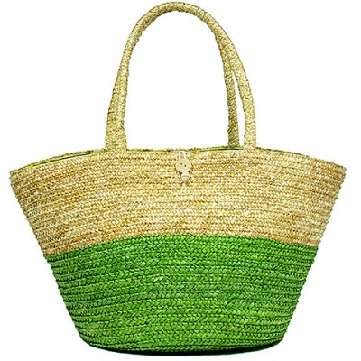 Straw Tote: Woven Wheat Straw Tote - 2 Tones - Lime - BG-R11053LM