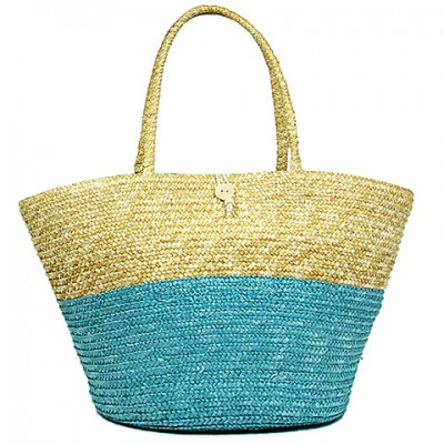 Straw Tote: Woven Wheat Straw Tote - 2 Tones - Turquoise - BG-R11053TQ