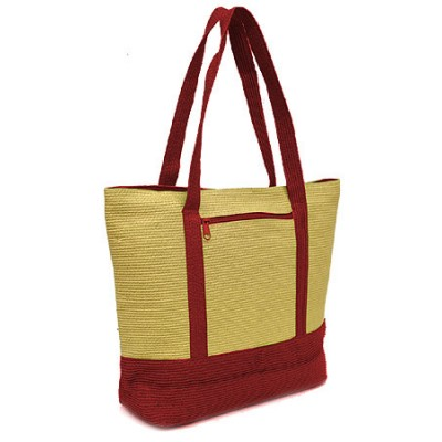 Straw Shopping Tote Bags - Paper Straw w/ Color Band Trim - Red - BG-ST400RD