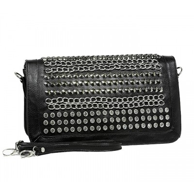 Kippy Group - Chain and Rhinestones Studded Shoulder Bag - Black - BG-2381BK
