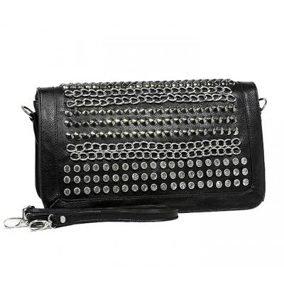 Kippy Group - Chain and Rhinestones Studded Shoulder Bag - Black - BG-2381BK