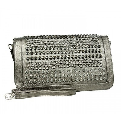 Kippy Group - Chain and Rhinestones Studded Shoulder Bag - Silver Gray - BG-2381SLGY