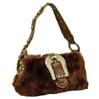 Satchel - Rabbit Fur w/ Rhinestone Buckle - Brown - BG-A628BR