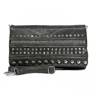 Kippy Group - Chain and Rhinestones Studded Shoulder Bag - Silver Gray -BG-CL931GY
