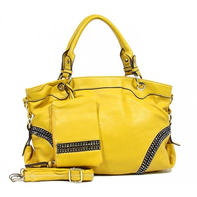 Kippy Group - Leather-like Tote w/ Linear Clear Stones - Yellow -BG-S0084YL