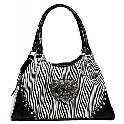 Animal Zebra Print Satchel Bags w/ 3-Heart Charm - White - BG-108HZ-WT