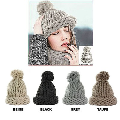Beanie Caps - Knitted with Pom Pom - HT-42