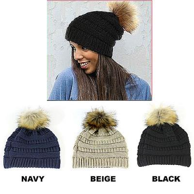 Beanie Caps - Knitted with Pom Pom - HT-43