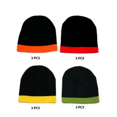 12-pc Cap - Winter Knitted Beanie Caps - HT-5003A-MIX