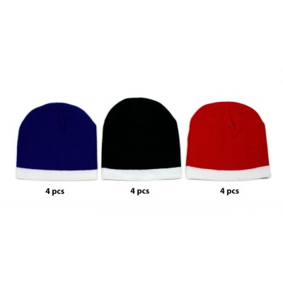 12-pc Cap - Winter Knitted Beanie Caps - HT-5003B-MIX