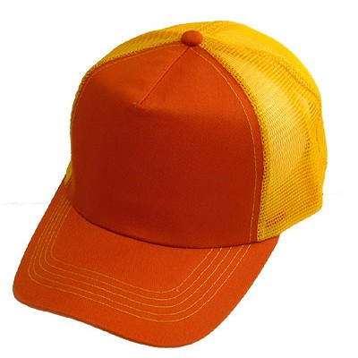 Trucker Cap - Cotton + Mesh Polyester - Orange - HT-748OG