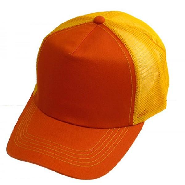 Trucker Cap - Cotton + Mesh Polyester - Orange - HT-748OG