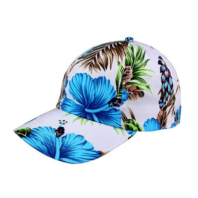 Baseball Cap- Tropical Flower Print – Cotton - Blue - HT-7655G-BL