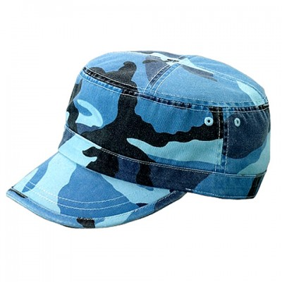 Military Cap - Enzyme Washed Cotton Twill - Blue / CAMO - HT-9028BL-CAMO