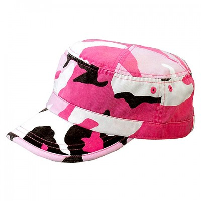 Military Cap - Enzyme Washed Cotton Twill - Pink / CAMO -HT-9028PK-CAMO