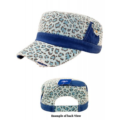Military Cap - Ladies Washed Canvas Leopard Print - HT-9050LBL