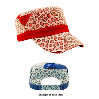 Military Cap - Ladies Washed Canvas Leopard Print - HT-9050PK