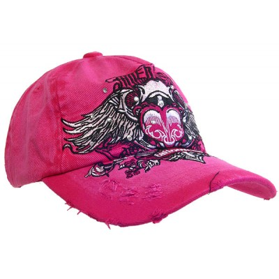Embroidery Tattoo Cap - American (Washed Cotton) - Hot Pink