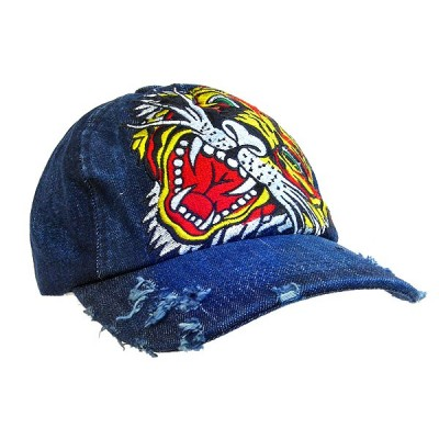Embroidery Tattoo Cap - Tiger (Washed Cotton) - Denim- HT-BST100DN