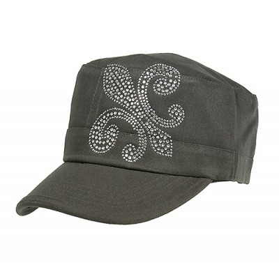 Military Cap w/ Jeweled Rhinestones Fleur de Lis Sign - Gray - HT-C7018A-GY