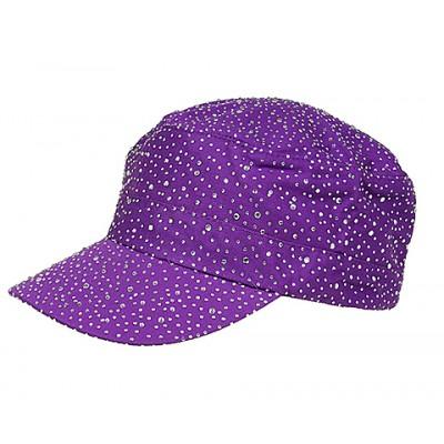 Military Cap w/ Clear Stones - Purple - HT-CAP00056PU
