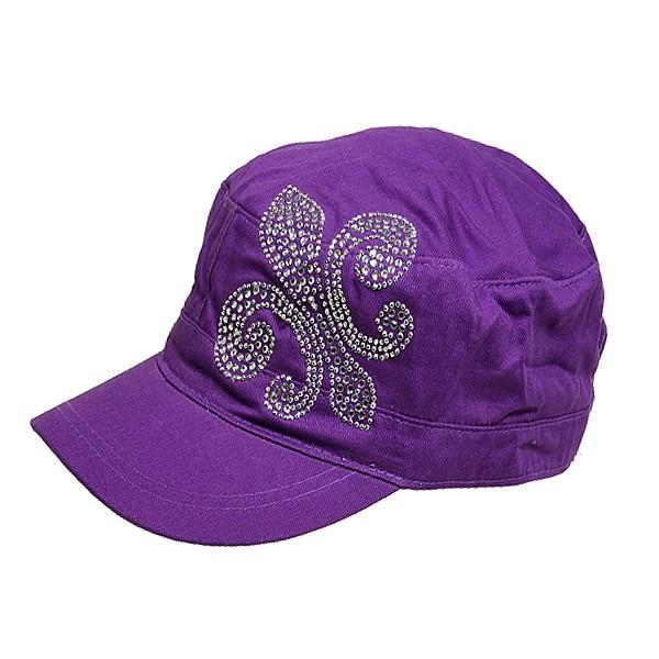 Military Cap W/ Fleur de Lis Sign - Purple - HT-CAP010PU