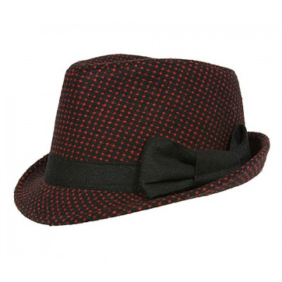 Fedora Hats - White Dots w/ Bow - Black/ Red - HT-AHA51742RD