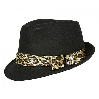 Fedora Hats - Wool-felt Like w/ Leopard Print Band - Black - HT-AHA51743BK