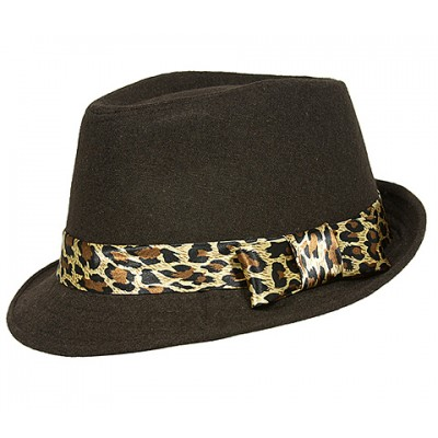 Fedora Hats - Wool-felt Like w/ Leopard Print Band - Brown - HT-AHA51743BR