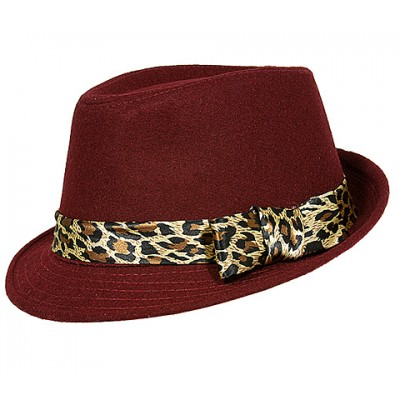 Fedora Hats - Wool-felt Like w/ Leopard Print Band - Red - HT-AHA51743RD
