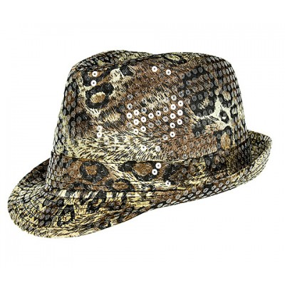 Fedora - Sequined Python Print - Brown - HT-AHA51984BR