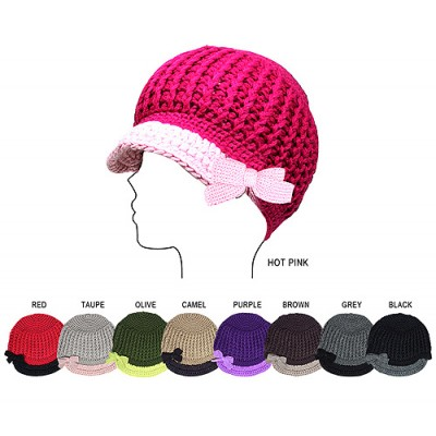 Cap - 2-Tone Cable Knit Cap w/ Bow -HT-11KH035