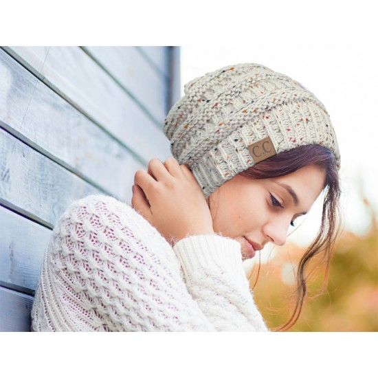 Caps & Hats - Ribbed Confetti Knit Hat - HT-33