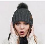 Beanie Caps - Knit Beanie w/ Faux Fur Pom - HT-63POM